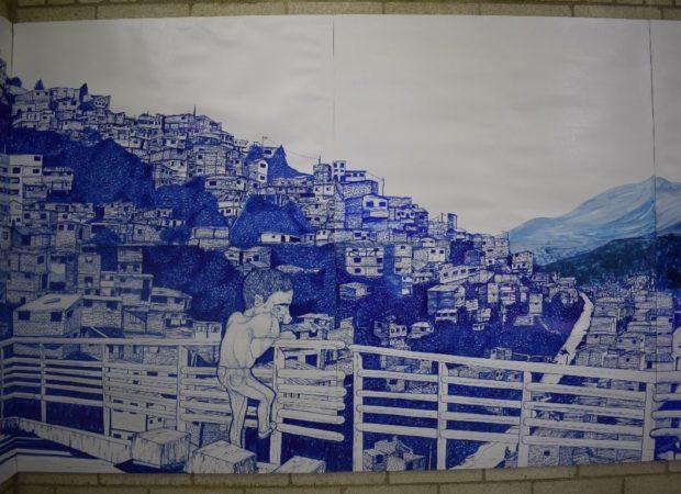 Detalle de Una montaña de casitas de Sara Vélez. Foto de Jessika Cano Uribe.